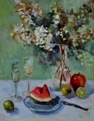 Hydrangeas, Fruit and Champagne *SOLD*